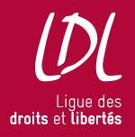 Logo de la Ligue des droits et libertés sur fond rouge