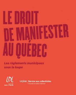 Page couverture du guide le droit de manifester au Québec